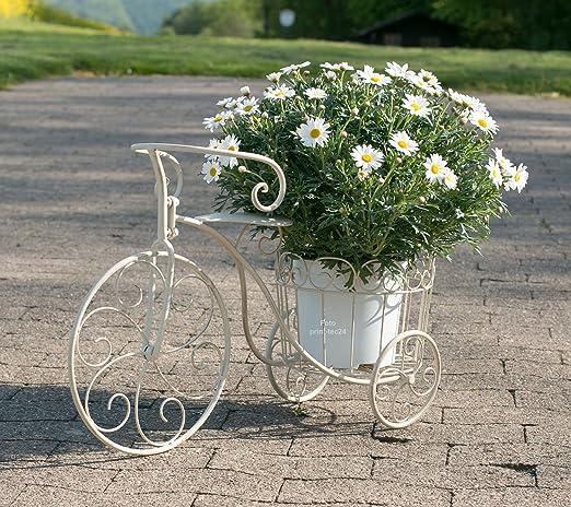 Macetero bicicleta metal blanco-gris de decoración de bicicleta ...