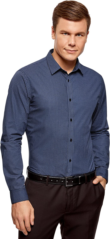 oodji Ultra Hombre Camisa Entallada con Pequeña Decoración Geométrica