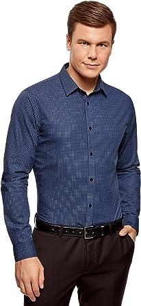 oodji Ultra Hombre Camisa Entallada con Pequeña Decoración Geométrica: Amazon.es: Ropa y accesorios