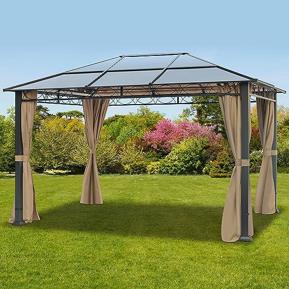 TOOLPORT Cenador de jardín 3x4 m Impermeable ALU Deluxe con 4 Partes Laterales Carpa Party en Techo de Bronce translúcido PC: Amazon.es: Jardín