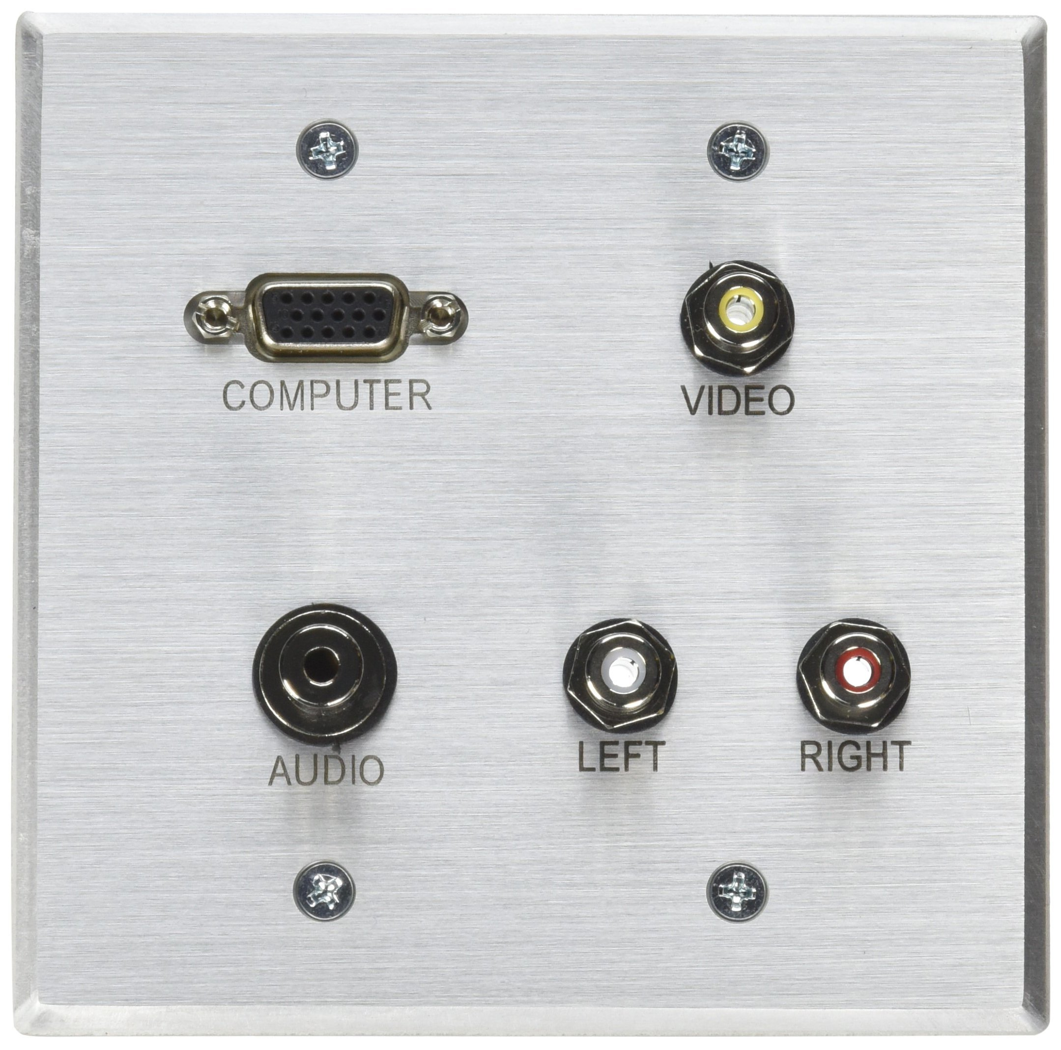 C2G 40506 VGA, 3.5mm Audio, Composite Video and RCA Stereo Audio Pass Through Double Gang Wall Plate, Brushed Aluminum by C2G