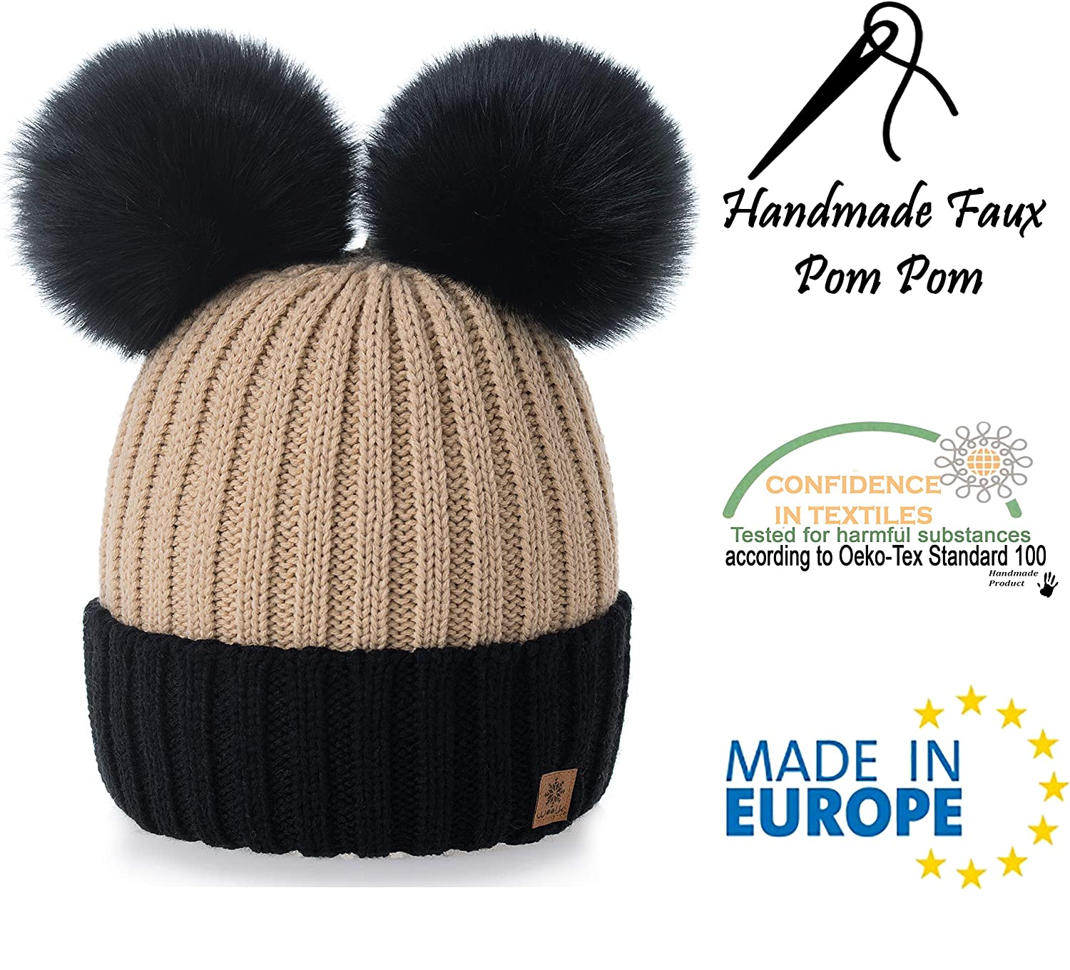 b17a3f22 4sold Miki Colour Beige Black Womens Girls Winter Hat Wool Knitted Beanie  with Double Pom Pom Cap Ski Snowboard Bobble: Amazon.co.uk: Clothing