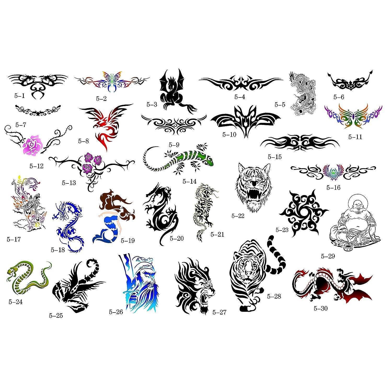 Buyter Folleto conjunto de plantillas de tatuaje temporales con ...