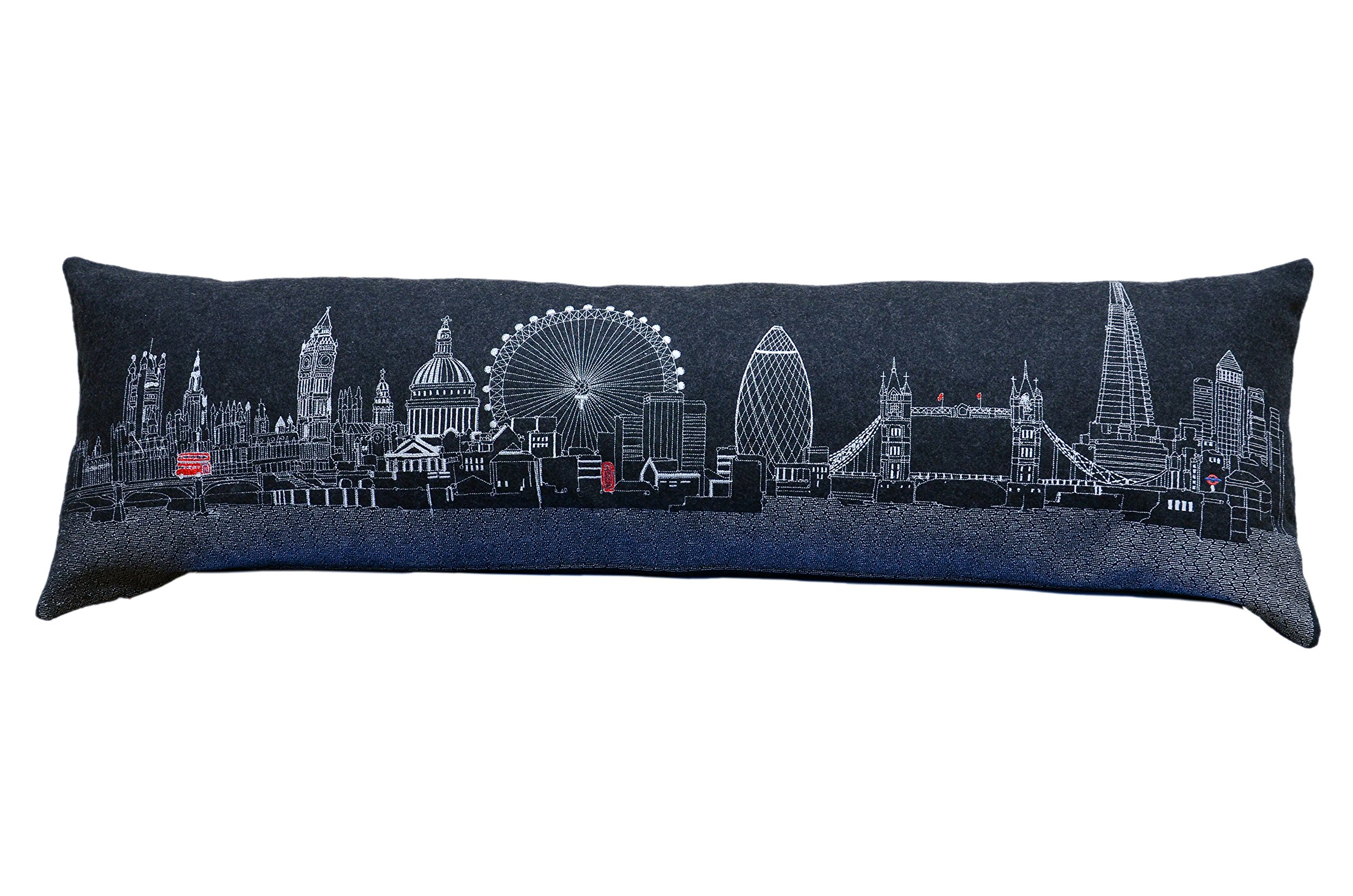 Beyond Cushions Polyester Throw Pillows Beyond Cushions London England Night Skyline King Size Embroidered Accent Pillow 46 X 14 X 5 Inches Black Model # LON-NGT-KNG