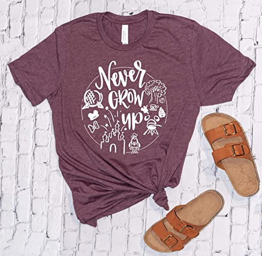 Amazon Never Grow Up Disney Shirts For Women Minnie Mouse Disneyland Trip Birthday Outfits Cute T Unisex Handmade