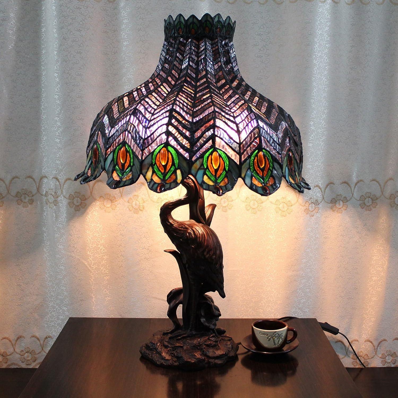Peacock E27 Glasmalerei Metall Schreibtischlampe Tischlampe Wohnzimmer Lampe einschließlich 2 Birne 18 Zoll - Crane Base