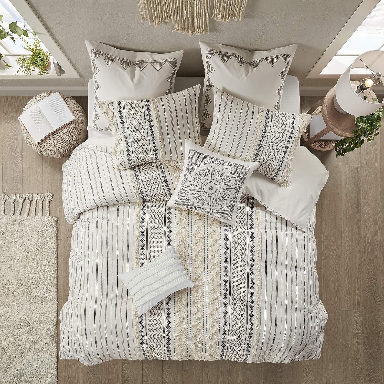 Matching Shams INK+IVY 100/% Cotton Comforter Mid Century Modern Design All Season Bedding Set 88x92 Rhea Full//Queen Grey Geometric Clipped Jacquard 3 Piece