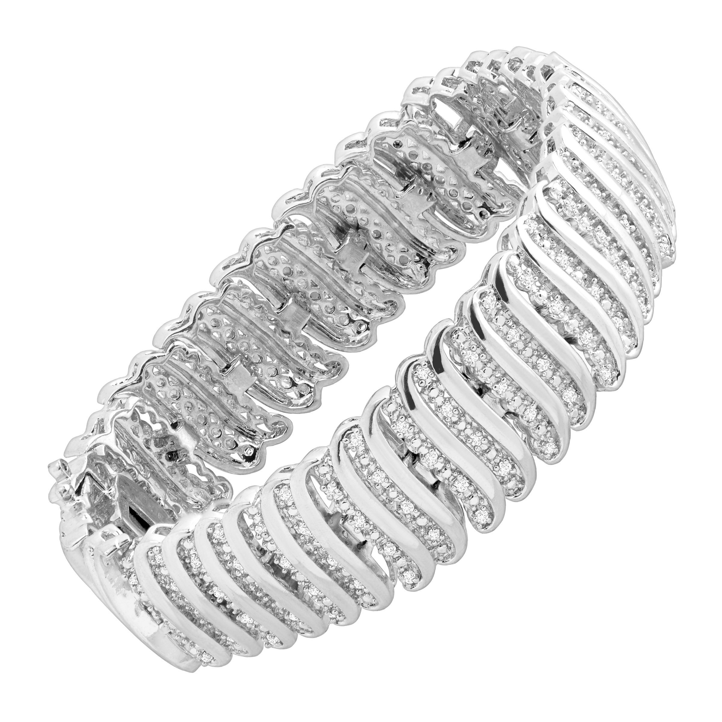 2 ct Diamond 'S' Link Tennis Bracelet in Sterling Silver-Plated Brass