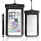 Waterproof Case with IPX8 Certificate for iPhone 6 Plus – Compatible With Devices Up to 6.2 x 3.1 Inches including Samsung Galaxy Note 4, 3, 2; S5, S4, S3; Apple iPhone 5, 5S, 5C, 4; HTC; Motorola; and Other Smartphones / Also Includes 1 Stylus Pen and 1 ECO-FUSED Microfiber Cleaning Cloth (Black)