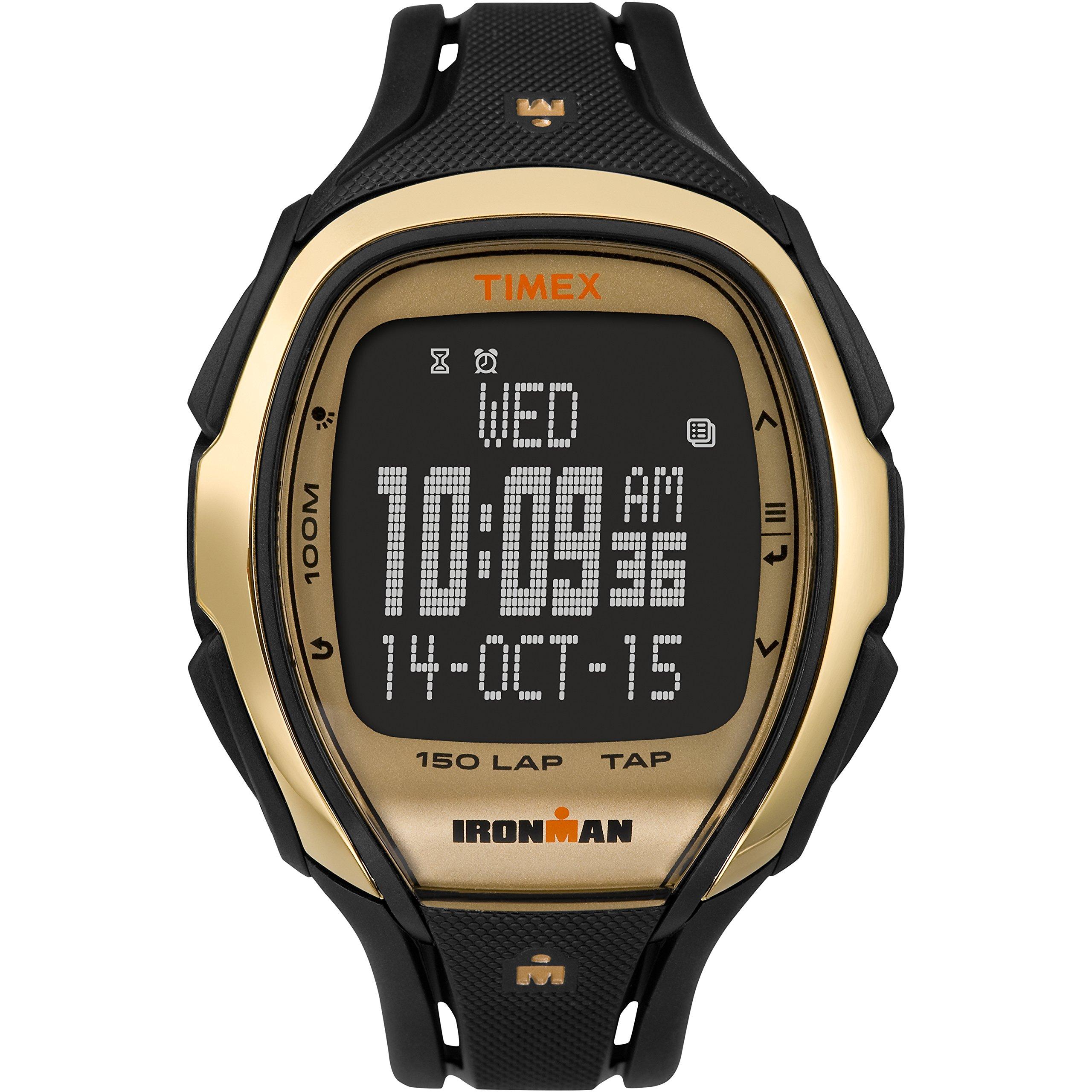 Timex Unisex TW5M05900 Ironman Sleek 150 Tapscreen Full-Size Black/Gold-Tone Resin Strap Watch by Timex