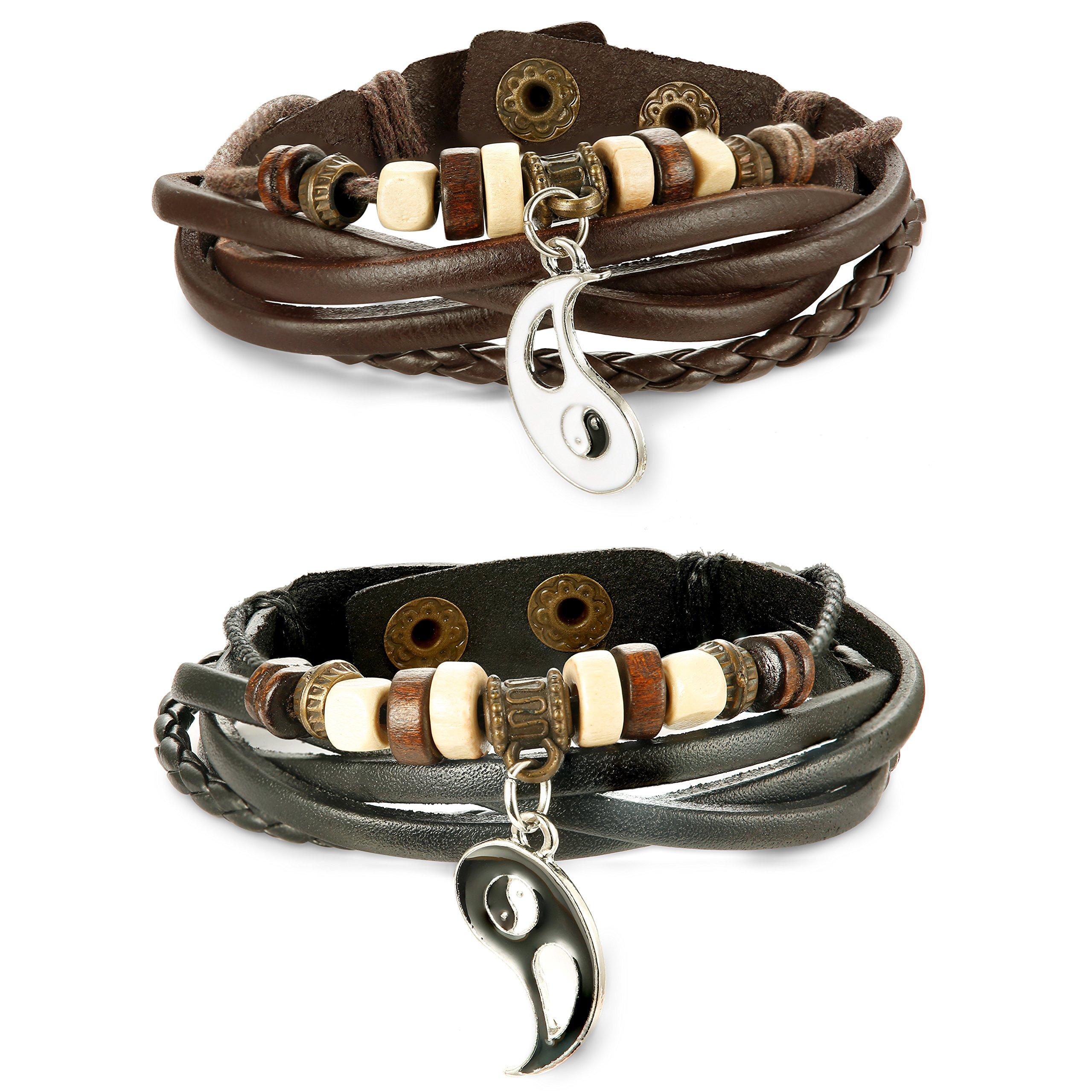 Jstyle Yin Yang Couples Necklace Bracelets for Women Mens Distance Leather Beaded Bracelet Adjustable 3Sets by Jstyle (Image #3)
