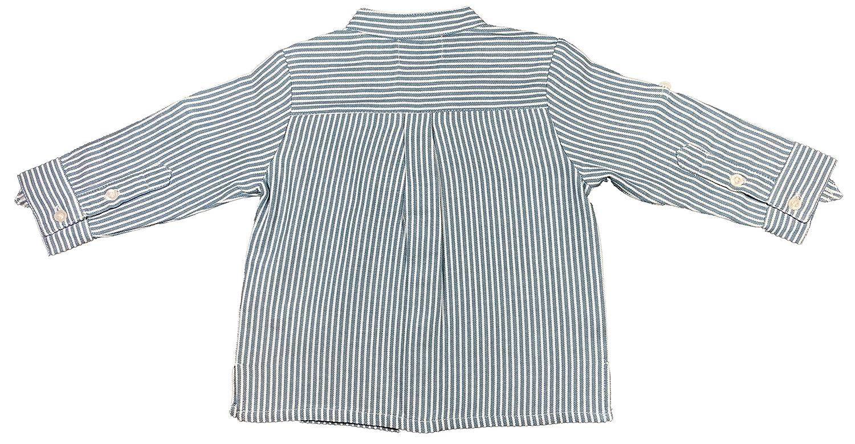 Autunno//Inverno Strisce Blu//Ecru Camicia con Collo alla Coreana Patricia Mendiluce MAO per Bambino e Ragazzo