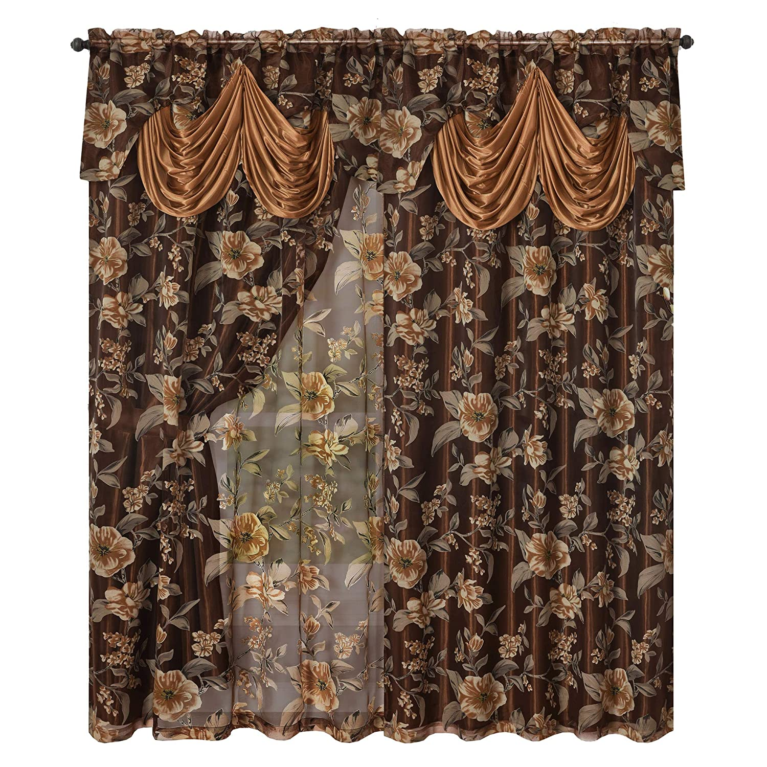 GOHD Golden Ocean Home Decor Roman Romance. Burnt-Out Printed Organza Window Curtain Panel Drape with Attached Fancy Valance and Taffeta Backing (Brown, 55 x 84 inches + Attached Valance x 2pcs)