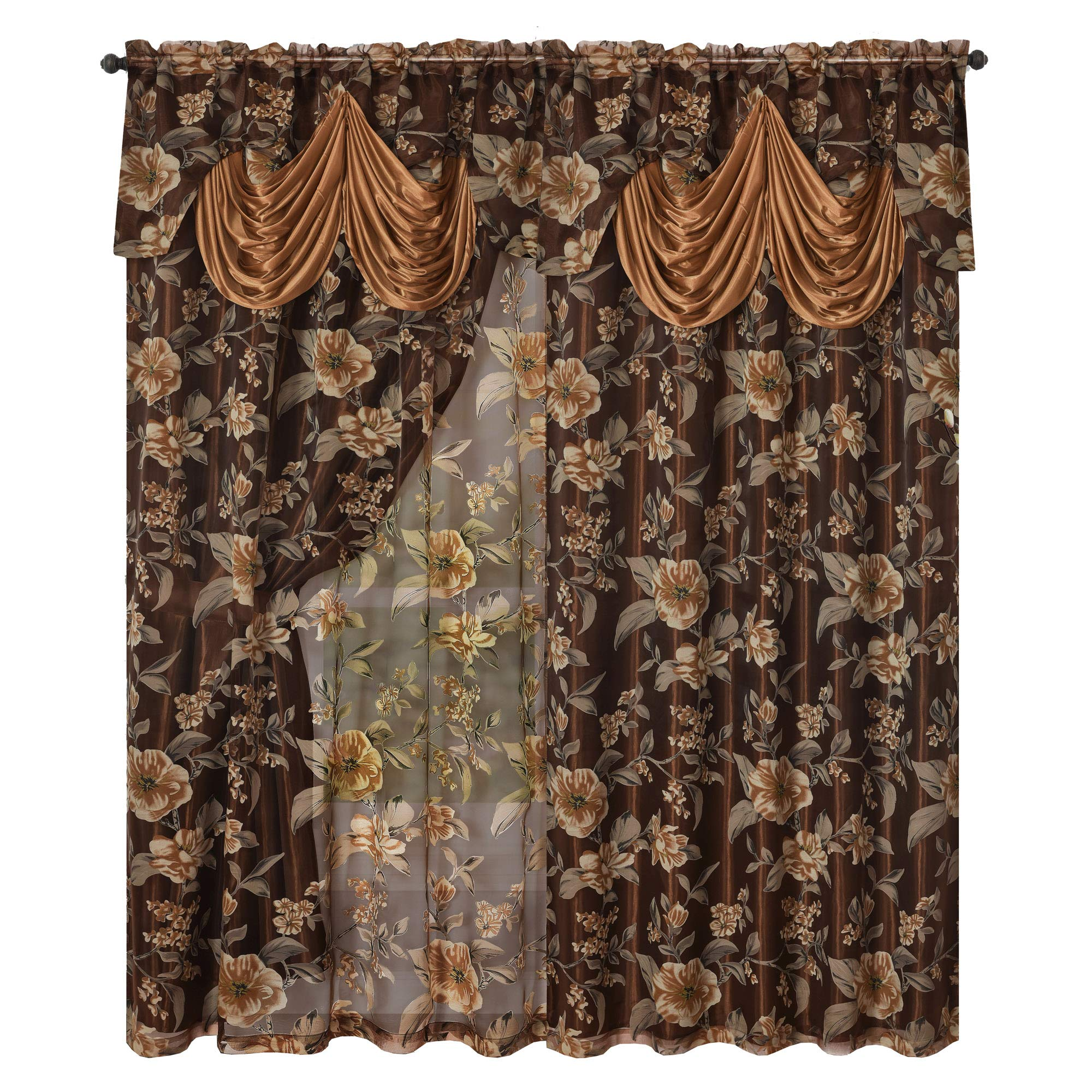 GOHD Golden Ocean Home Decor Roman Romance. Burnt-Out Printed Organza Window Curtain Panel Drape with Attached Fancy Valance and Taffeta Backing (Brown, 55 x 84 inches + Attached Valance x 2pcs) by GOHD Golden Ocean Home Decor