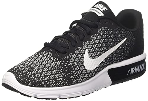 Nike Women s Air Max Sequent 2 Running Shoe Black White Dark Grey Wolf Grey Size