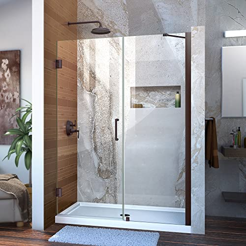 DreamLine Unidoor 49-50 in. W x 72 in. H Frameless Hinged Shower Door with Support Arm in Oil Rubbed Bronze, SHDR-20497210-06