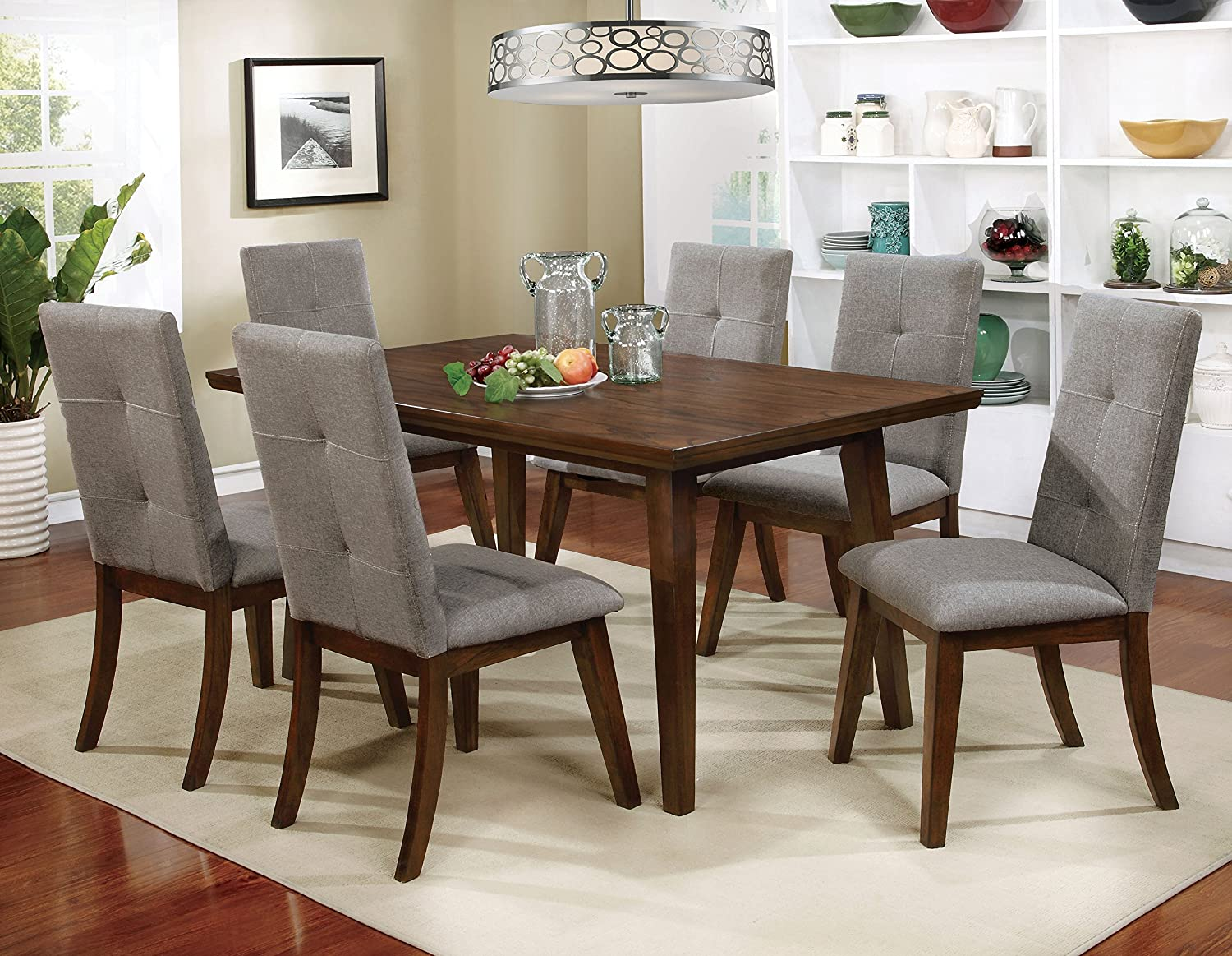 HOMES Inside Out IDF-3354T Jenka Walnut Jenak Mid-Century Modern Dining Table