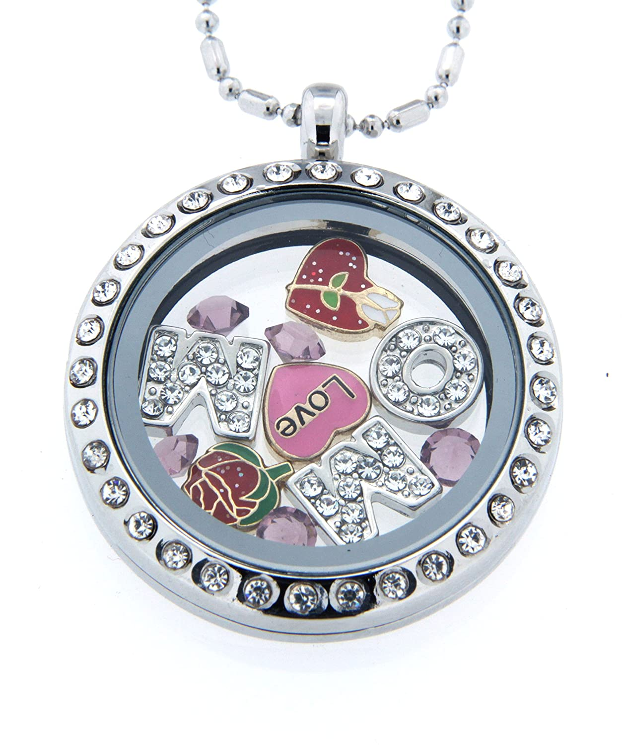 lockets silver necklacewith with zoom il chain sterling necklace locket ball listing fullxfull clear glass