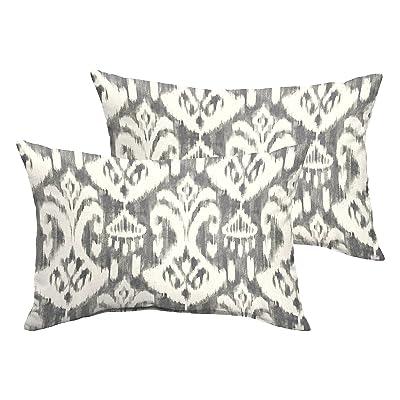 Mozaic AZPS7995 Indoor Outdoor Lumbar Pillows, Set of 2, 12 x 18, Grey & White : Garden & Outdoor