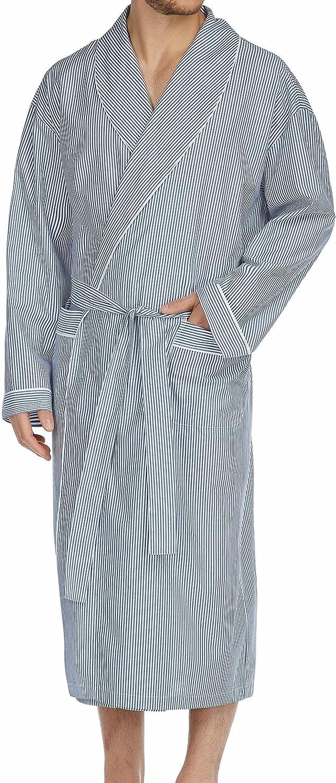 Majestic International Big and Tall All Cotton Woven Blue Stripe Luxury Lounging Robe