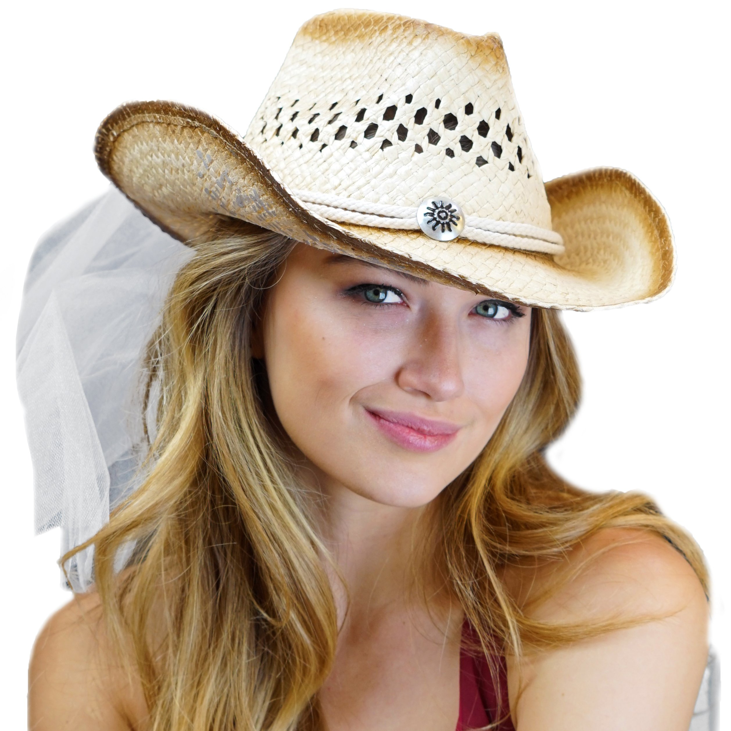 Country Western Medallion Bride Straw Hat with White Veil - Cowgirl Bachelorette Party, Bridal Shower, Bride To Be Southern Wedding Accessory