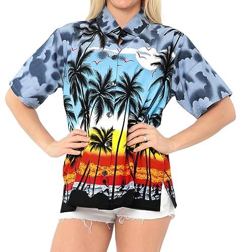 *La Leela** Blusas Relajado de Vacaciones de Camisa Hawaiana Tirantes Las Mujeres de Manga Corta de ...
