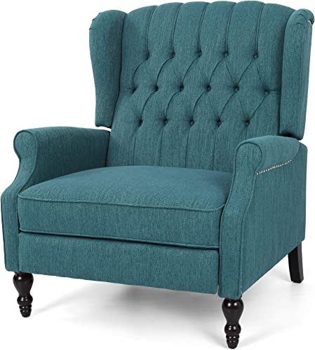 Christopher Knight Home Salome Push Back Recliner, Teal, Dark Brown