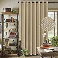 Extra Long and Wide Room Darkening Rich Quality of Textured Linen Patio Door Curtain Home Fashion Window Panel Drapes with 16 Eyelets - Charcoal Grey - 254x213 cm Drop