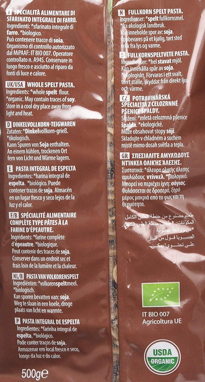 Probios Pasta Integral de Espelta Fusilli - Paquete de 12 x 500 gr - Total: 6000 gr: Amazon.es: Alimentación y bebidas
