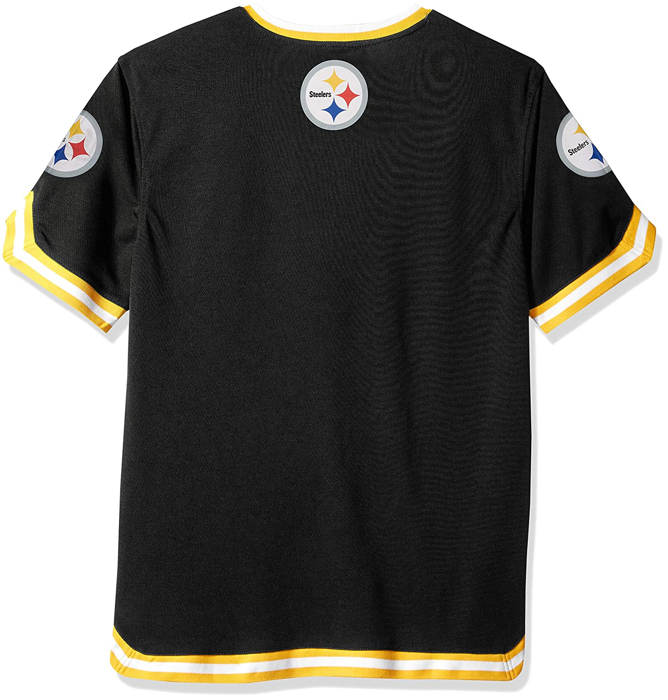 bfbc7382 Ultra Game NFL Pittsburgh Steelers Men's Standard Jersey T V-Neck Mesh  Stripe Tee Shirt, Team Color, Black, X-Large