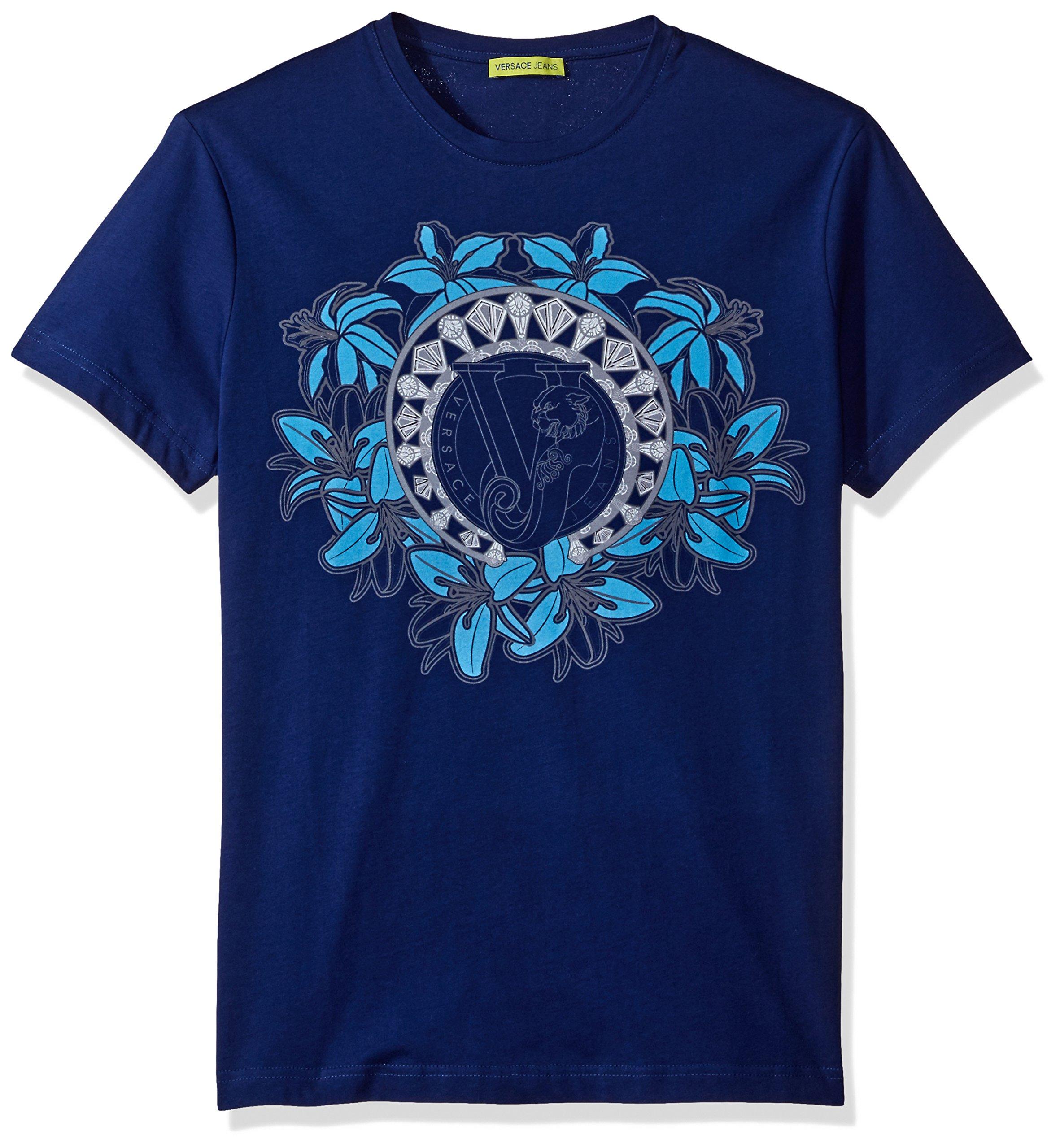 Versace Jeans Men's Graphic Circle Logo T-Shirt, Blue, X-Large