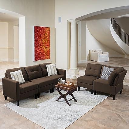 Peachy Emma Mid Century Modern 5 Piece Dark Brown Fabric Sectional Sofa Pdpeps Interior Chair Design Pdpepsorg