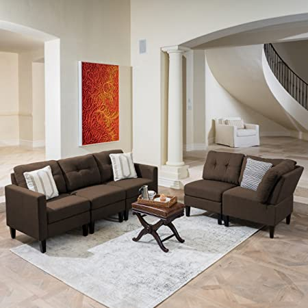 Emma Mid Century Modern 5 Piece Dark Brown Fabric Sectional Sofa