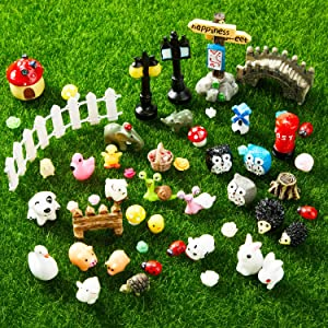 115 Piece Mini Animals Miniature Ornament Kit Fairy Animal Figurines Garden Animals Miniature Micro Landscape Accessories for DIY Dollhouse Plant Decoration, Snail, Tortoise, Flamingo, Honeybee, Bunny