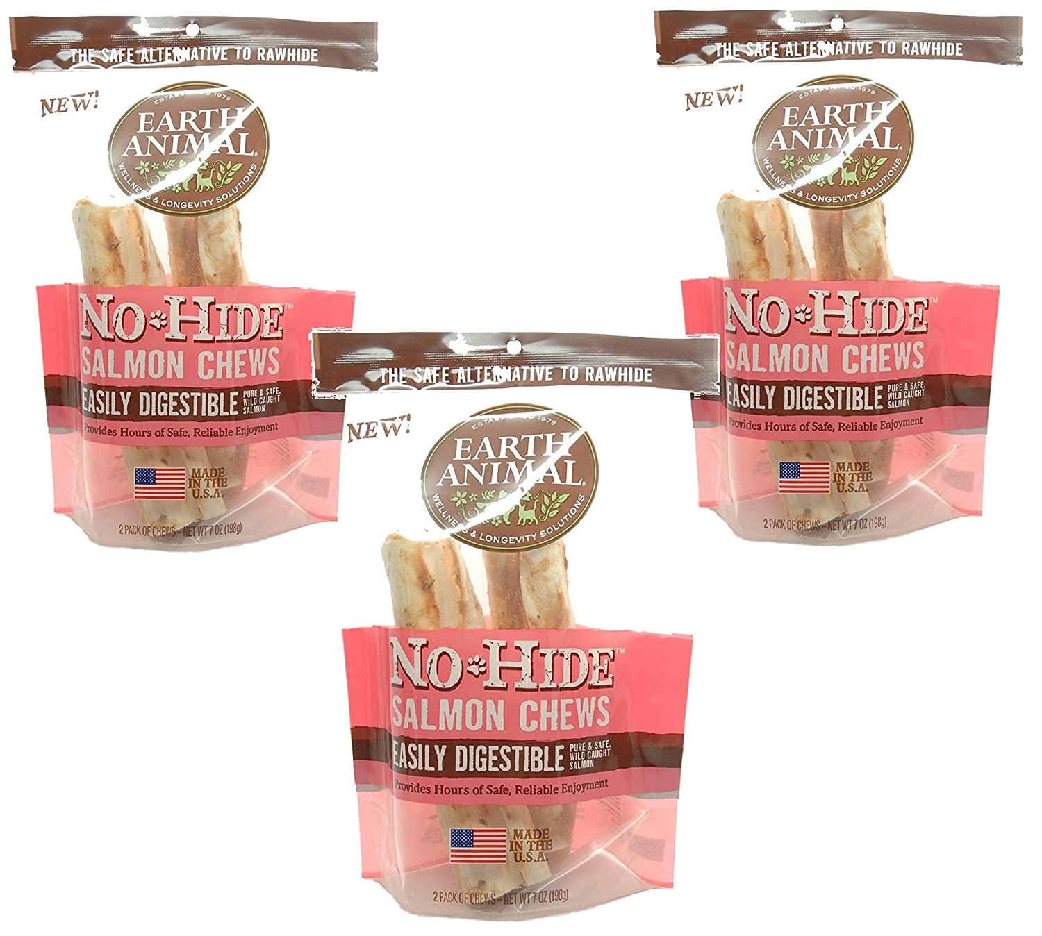 6-Count Earth Animal No-Hide Salmon Chews 7  (3 Packages with 2 Chews Each)