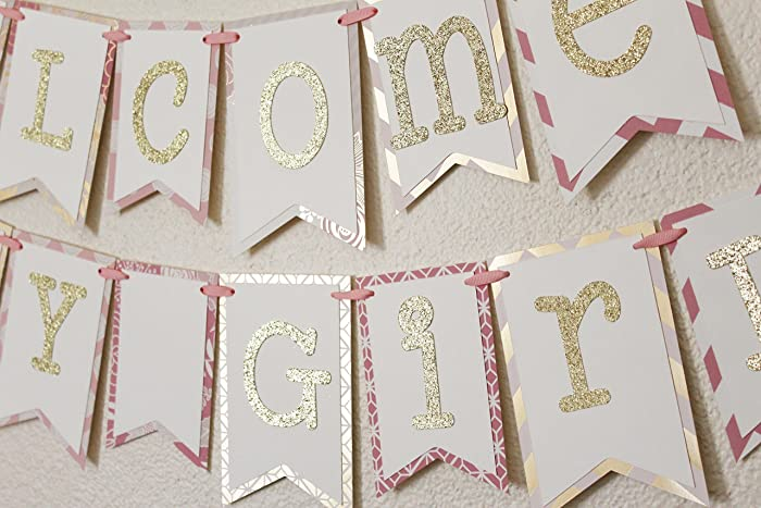 Amazon.com: Pink and Gold Baby Shower Banner | Welcome Baby Girl ...