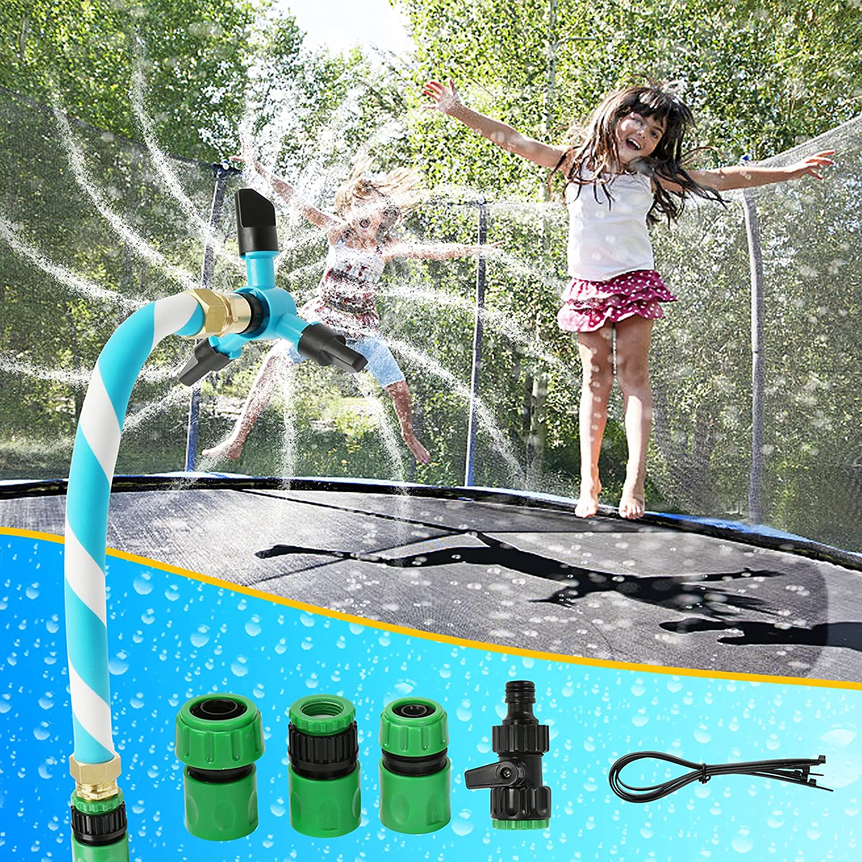 TKAIE Trampoline Water Sprinkler for Kids, Trampoline Sprinkler with 360° Automatic Rotation Spray Head, Outdoor Water Park Game Trampoline Accessories (Blue)