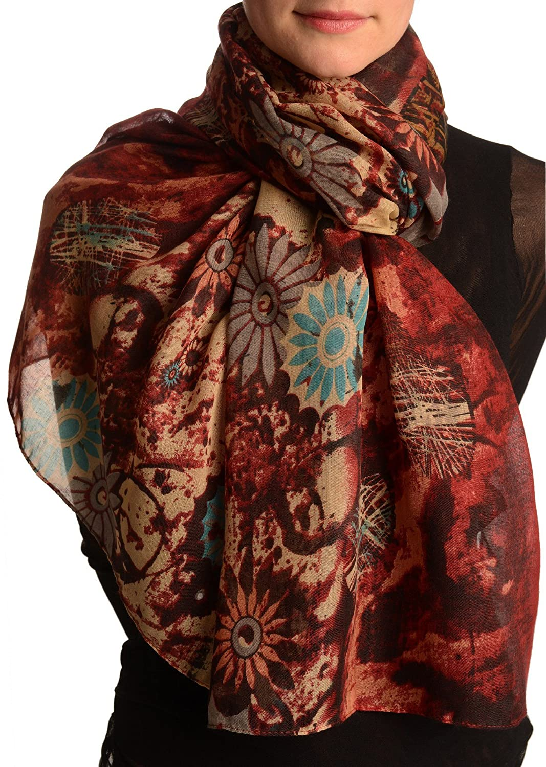 Burgundy With Large Rustic Daisy Scarf - Scarf