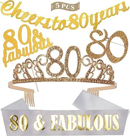 Amazon.com: 80 cumpleaños decoraciones fiesta suministros de ...