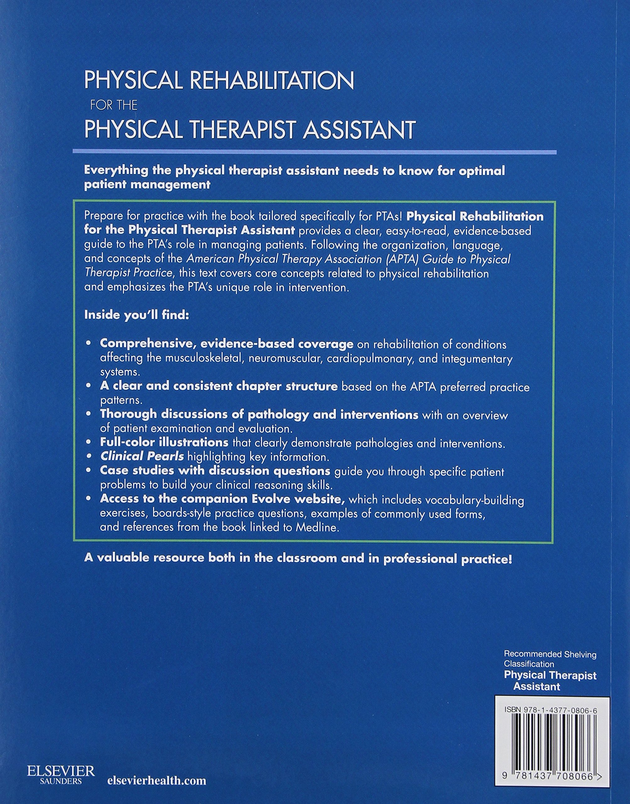 Generalist physical therapy - Physical Rehabilitation For The Physical Therapist Assistant Michelle H Cameron Md Pt Ocs Linda Monroe Mpt Ocs 0001437708064 Occupational Therapy