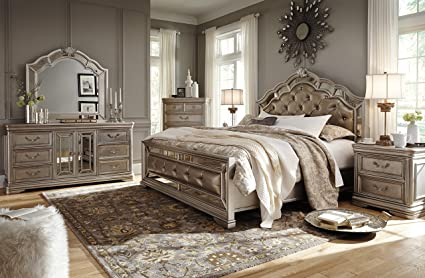 Amazon.com: Birlinny Traditional Silver Bedroom Set with ...