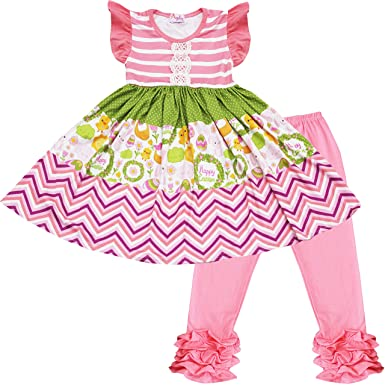 679cc0975 Angeline Boutique Toddler Girls Happy Easter Bunny Dress Leggings Set Coral  Lime Chevron 2T/S
