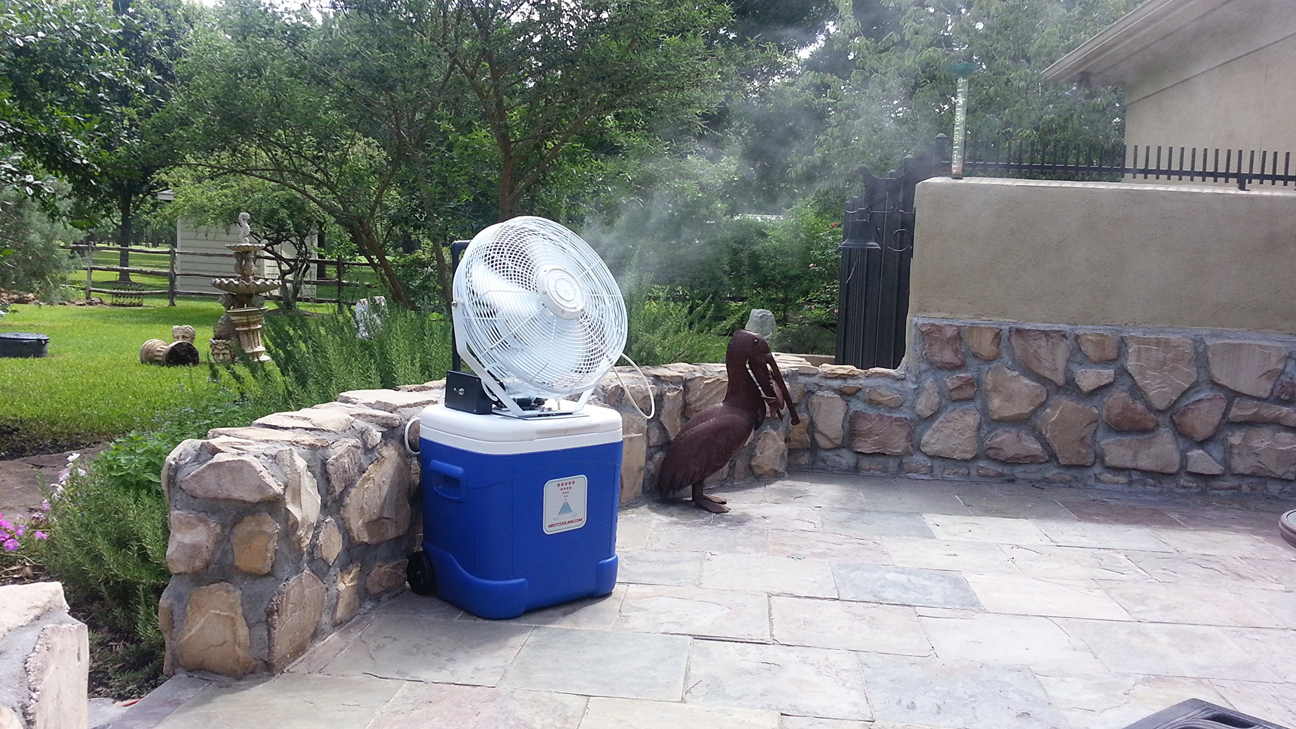 Portable Misting System - Coolermax- 15 Gallon Tank, 14 Inch High Velocity Outdoor Rated Fan - Brass/ Stainless Steel Misting Nozzle - 300 PSI Misting Pump