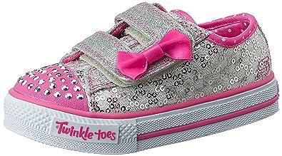 b9f93f17a496e Skechers Kids Twinkle Toes Shuffles Sweet Steps Light-Up Sneaker,Silver/Hot  Pink