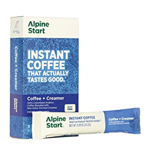 Alpine Start Premium Instant Coffee, Non-Dairy Coconut Creamer Latte, 5 Single Packets, 100% High Altitude Colombian Arabica Coffee, 0.74 oz (Pack of 5), Non-GMO, Dairy Free, Soy Free