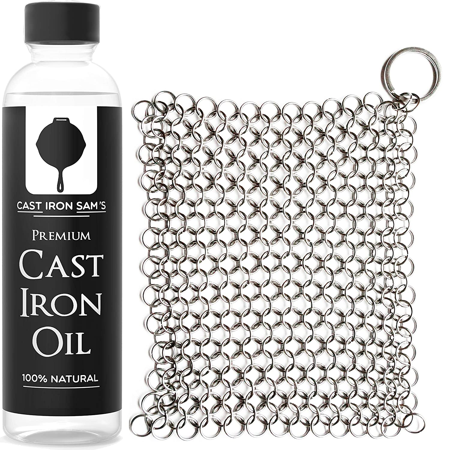 Stainless Steel Chainmail Cast Iron Scrubber and Seasoning Oil: Clean, Condition and Maintain Your Skillet, Dutch Oven, Grill Pan and all Castiron Cookware