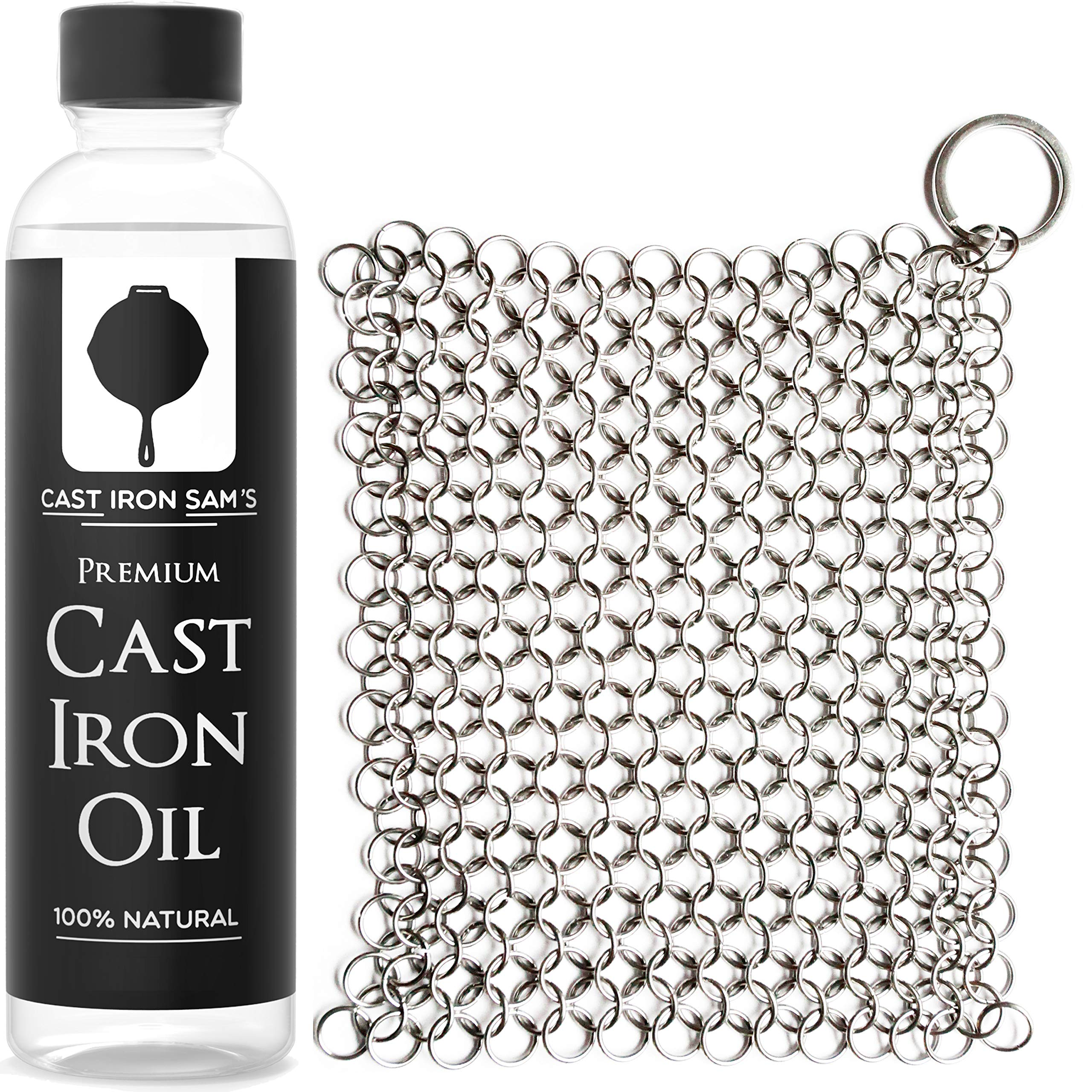 Stainless Steel Chainmail Cast Iron Scrubber and Seasoning Oil: Clean, Condition and Maintain Your Skillet, Dutch Oven, Grill Pan and all Castiron Cookware by Cast Iron Sam's