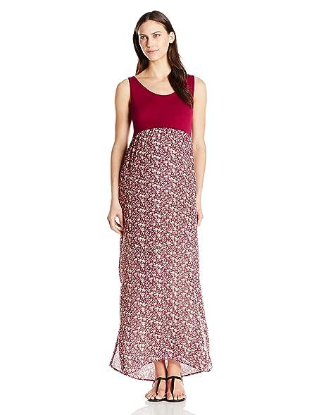 0f3cd29fda Everly Grey Women s Maternity Maisie Tank Maxi Dress with Side Slits ...