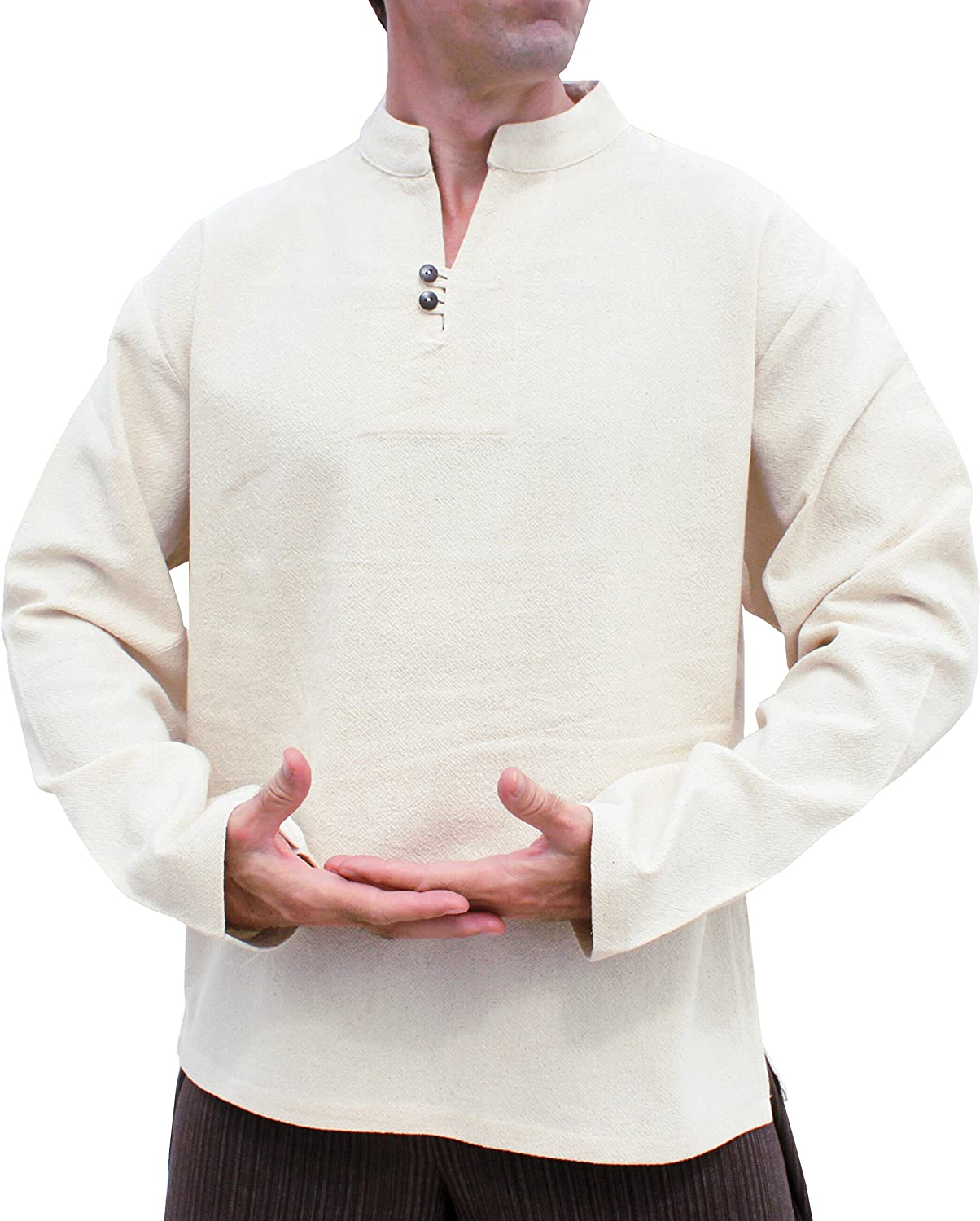 RaanPahMuang Soft Light Stamped Cotton Shirt Chinese Collar Two Button Longsleeve