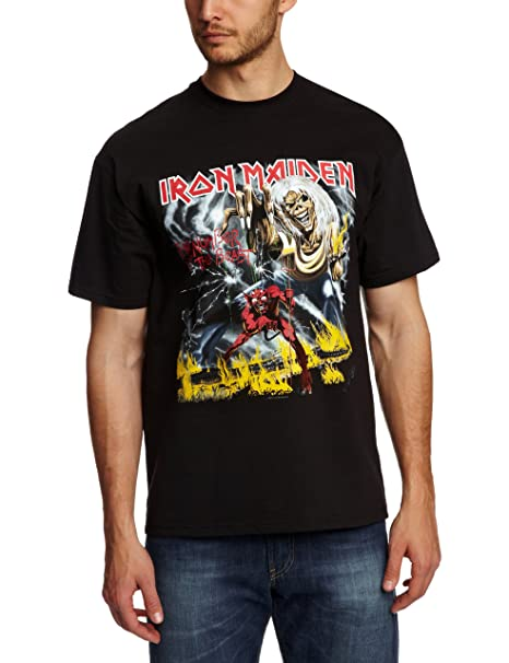 Official Iron Maiden Men/'s Long Sleeved Black T-Shirt Number Of The Beast